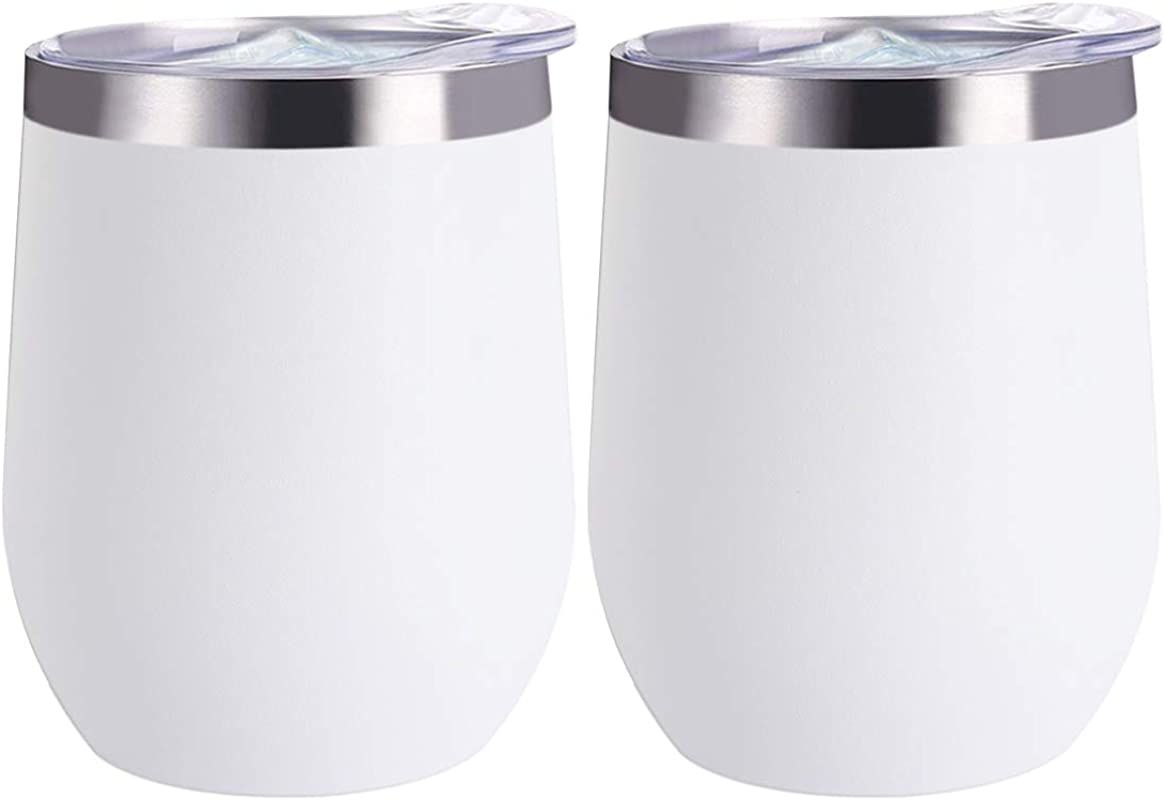 12 Oz Stainless Steel Tumbler With Lid 2 Pack Double Wall Vacuum Insulated Travel Tumbler Cup For Coffee Wine Cocktails Ice Cream Stemless Unbreakable Wine Glass White