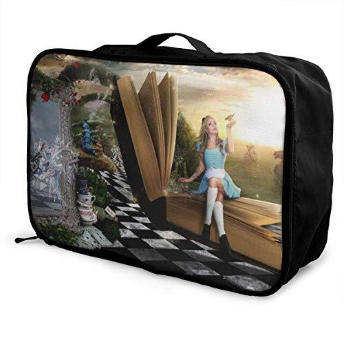 Alice in Wonderland Travel Lage Duffel Bag - Maleta ligera para portátil impermeable y grande
