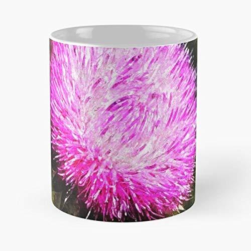 Magick Feminine Gentle Flowers Thistles Thistle Floral Magic Eat Food Bite John Best Taza de café de cerámica de 325 ml