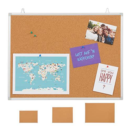 Relaxdays Tablón de anuncios de Corcho con Marco de Aluminio, 6 Agujas para Oficina y hogar, 45 x 60 cm, Color marrón
