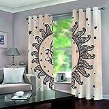 DOMDIL Vorhang Blickdicht mit Ösen Gardine für Schlafzimmer, Kinderzimmer 2 Stück 132cm*180cm Verdunkelungsvorhänge farbige Vorhänge,Sonne und Mond