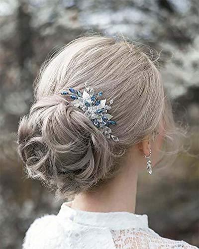 Edary Brautschmuck Silber Hochzeit Haarkämme blaue Perlen Braut Kopfschmuck Blatt Haarspangen Strass Haarschmuck für Frauen und Mädchen
