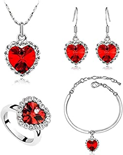 Scpink,Orecchini collana dolce temperamento ciondolo Forma di fiore Intarsiato con cristallo colorato Set di accessori per gioielli da donna