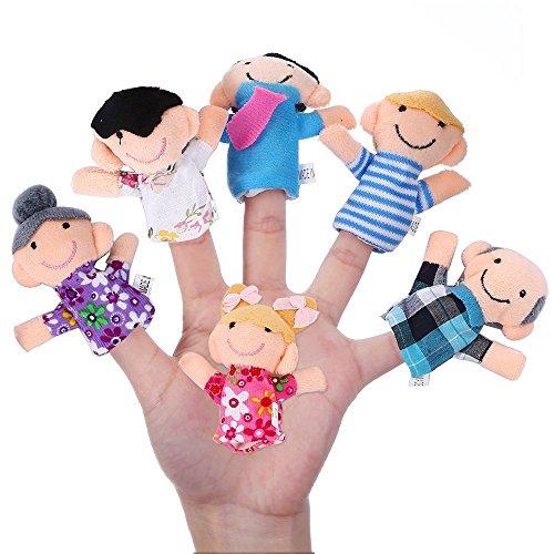 Rocita 6 piezas de marionetas de dedo, familia feliz miembro de la serie Puppet Set Toys Story-Telling Props