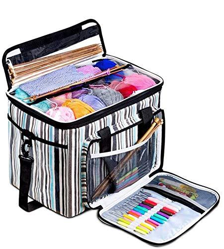 Bolsa de almacenamiento con agujeros, bolsa de hilo para tejer con agujeros de visión para ganchillo, agujas de tejer, bolas de hilo, suministros de costura, bolsa de mano para proyectos