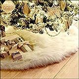 LDMD 78cm Blanco Falda del árbol de Navidad,Suave Felpa Base de árbol de Navidad,Blanco Christmas Tree Skirt para árbol de Navidad decoración de Parte Inferior