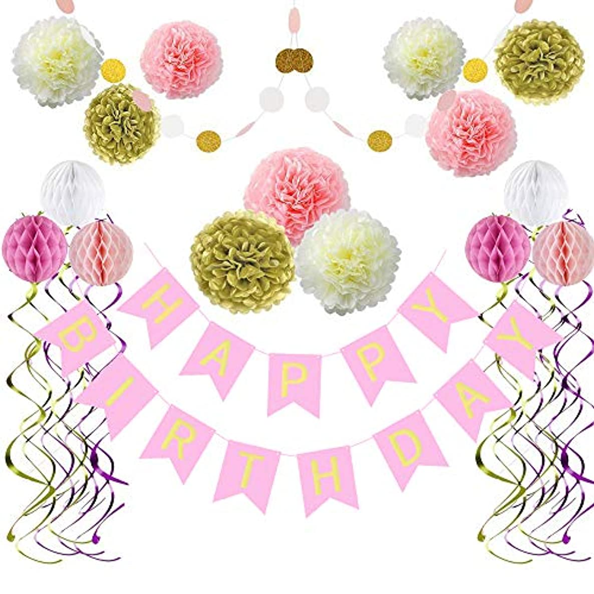 Colorful Birthday Party Supplies Birthday Decorations, Happy Birthday Bunting Banner, Hanging Swirls, Paper Garland, Paper flowers and Honeycomb Balls