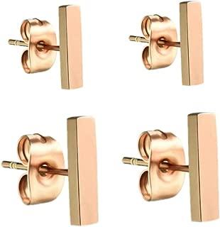 Minimalist Women 14K Gold Plated Dainty Line Pattern Charms Simplify Earrings Studs Mini Bar Stud Earrings