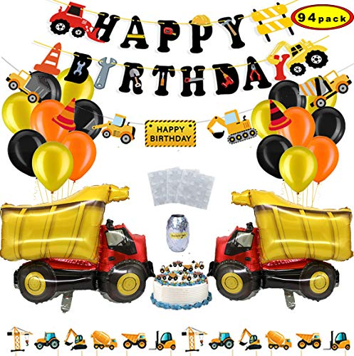 Sunshine smile BAU Geburtstag Party Dekorationen,Bagger Happy Birthday,Baustelle Geburtstag Deko Set,Baustelle Luftballons,Truck Luftballons,Bagger deko Kindergeburtstag(94pack)