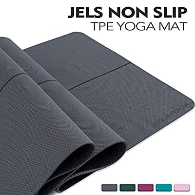 "TENOL JELS Yoga Mat Non Slip Eco Friendly SGS Certified TPE Yoga Mat Extra Thick 1/4"" Exercise ? Fitness Mat with a Carrying Strap for Yoga Pilates and Bikram (Gray)"