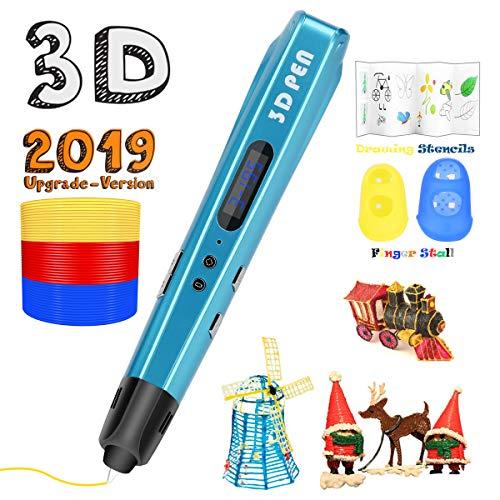 3D Printing Pen for Kids,Uvital 3D Drawing Doodle Printer Pen ?2019 Upgrade Version?Non-Clogging Bonus PLA Filaments Stencil eBook Best Gift for Children Adults Arts Crafts DIY Doodling(Blue)