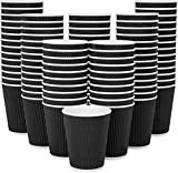 [120] Disposable Coffee Cups 12 Oz Hot Paper Coffee Cups Insulated Ripple Tea Cup Travel To Go by Galashield [Black]