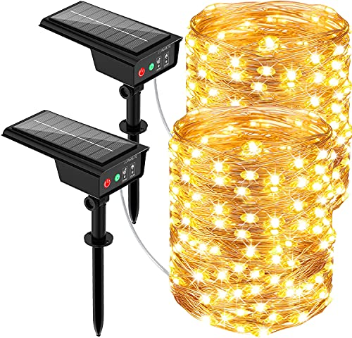 Solar String Lights Outdoor, 2 Pack 72ft 220 Led Solar Fairy Lights 8 Modes Outdoor String Lights Waterproof Copper Wire Light for Tree, Party, Wedding, Home Decoration
