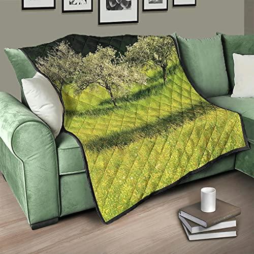 AXGM Colcha natural con diseño de campo de hierba verde y flores primaveral, manta para el salón o dormitorio blanco 150 x 200 cm