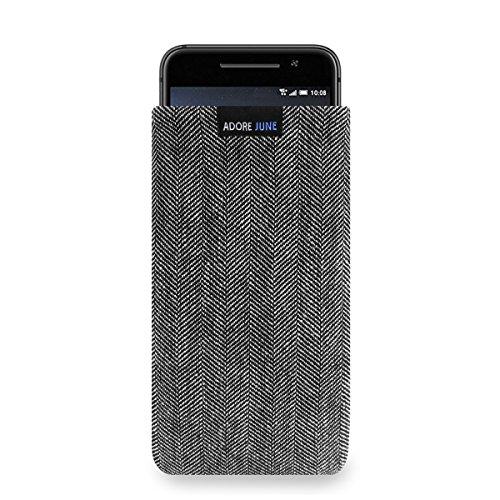 Adore June Business Tasche für HTC One A9 Handytasche aus charakteristischem Fischgrat Stoff - Grau/Schwarz | Schutztasche Zubehör mit Bildschirm Reinigungs-Effekt | Made in Europe