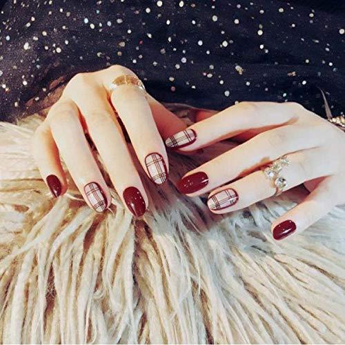 Mädchen Sommer Mode Falsche Nägel Gemischt Laden Rote Farbe Gitter Gefälschte Nägel Reine Farbe Kleine runde Köpfe Nägel Kunst Zurück mit