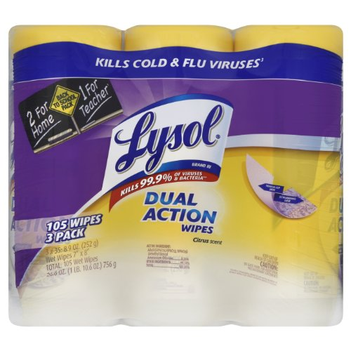 Lysol Dual Action Value Pack Disinfecting Wipes, Citrus Scent, 105 Count