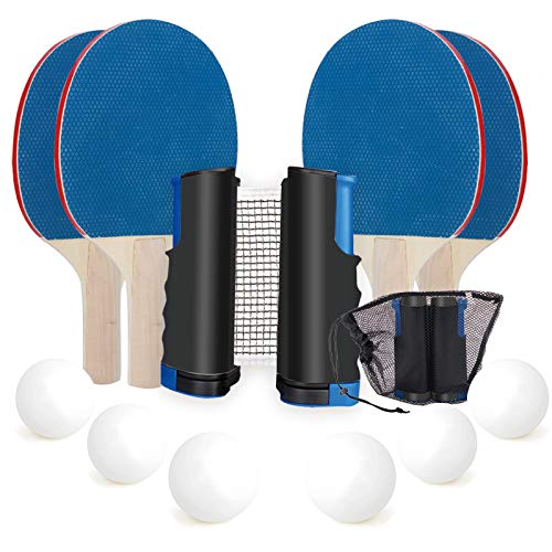IAXSEE Portable Ping Pong Paddle Set with Retractable Net for Any Table,Includes Ping Pong Palls,Convenient Drawstring Mesh Bag (4 Paddles and 6 Balls)