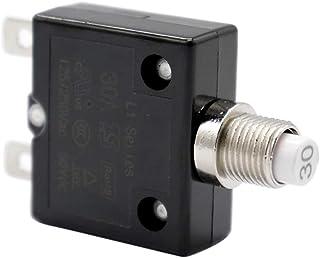 B Blesiya 1 STK. 12v 24v Druckknopf Reset Leistungsschalter mit Schnellverbindungsklemmen 30amp