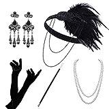 Atuka Anni '20 Accessori Gatsby 1920 Costumi Charleston Set Costume della Falda per Le Donne Flapper Fascia, Collana, Guanti, Orecchini, Porta Sigarette Grandi Roaring 20s Style 5