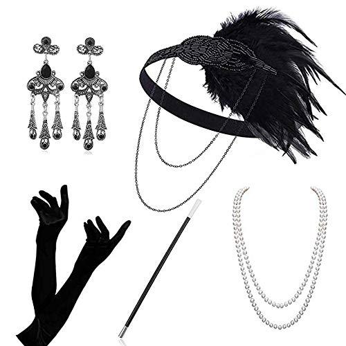 Atuka 1920er Jahre Zubehör Set Flapper Kostüm Charleston Accessoires für Damen 1920s Gatsby Jahre Stirnband Kopfschmuck Ohrringe Perlen Halskette Handschuhe Zigarettenspitze (Style #5)