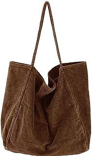 Nicebags Damen Große Cord-Tragetasche Retro Schultertasche Casual Einkaufstasche Mode Handtasche Hellgrün