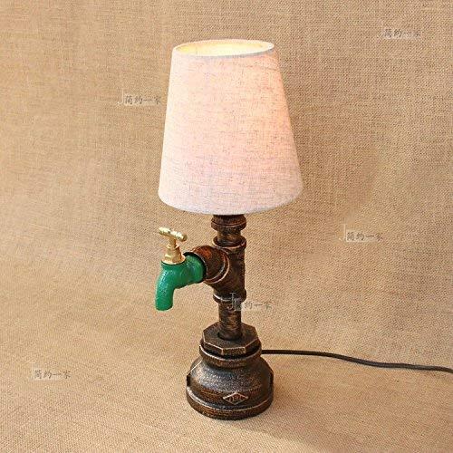 YLCJ Lampe de table à usage industriel Lampe de table à usage unique Rustique En fer forgé Eau Poêle Style Chambre à coucher Salle à manger Bar Café Chambre Bar sur le lit Lampe de table