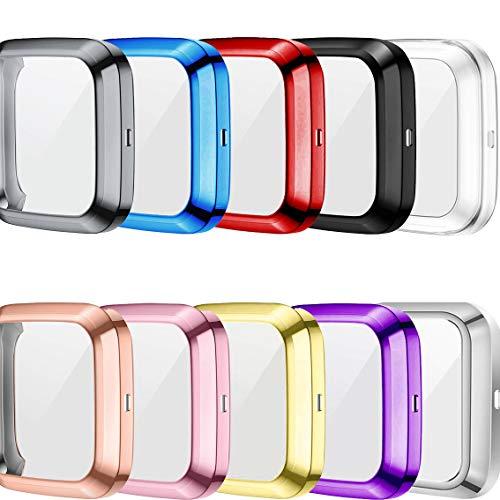 RuenTech Kompatibel mit Fitbit Versa 2 Displayschutzfolie Schutzhülle Vollschutz Weiche TPU Hülle Kompatibel mit Fitbit Versa 2 Smartwatch Slim Plate Hülle (10 Farben)