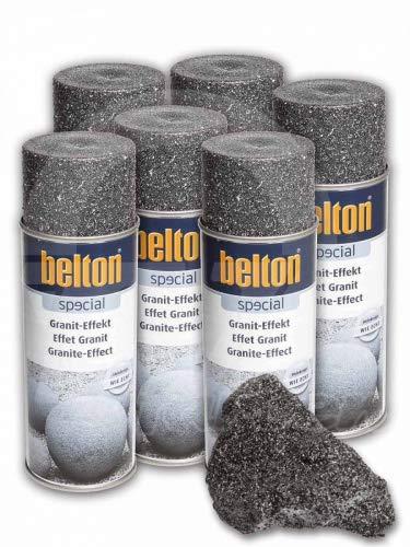 6 x Belton Granit-Effekt-Spray obsidian-schwarz