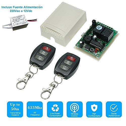 RPS Control Remoto Rele inalambrico 2 CH Incluye 2 Mando a distancias Radio Frecuencia. Salida 5VDC~220VAC