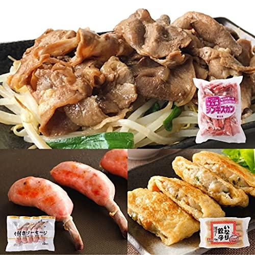 [スターゼン] ジンギスカン セット 1.28kg ラム スライス いなり餃子 骨付きソーセージ 冷凍 食品
