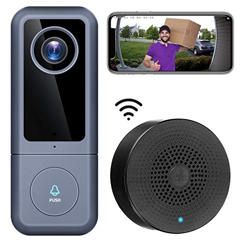 【2021 Upgraded】 WiFi Video Doorbell Camera, XTU Doorbell Camera with Chime, 2K Ultra HD, 2-Way Audio, Night Vision, Easy Installation, Motion Detection, IP65 Waterproof