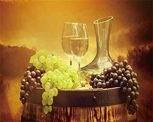 HNBLSHM Póster de Lienzo Impreso Vino Fruta Pintura acrílica Imagen Moderna decoración del hogar Cuadro de Arte de Pared para el hogar Cocina decoración de la Pared 40x60cm Sin Marco