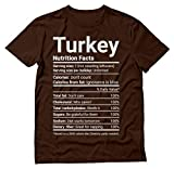 Thanksgiving Shirt Funny Turkey Shirt Nutrition Facts Christmas Novelty T-Shirt Large Brown