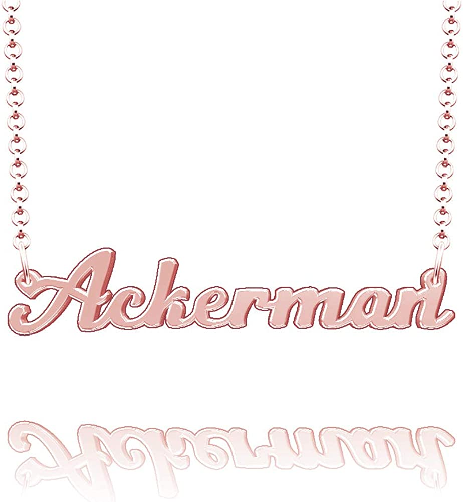 LoEnMe Jewelry Personalized Ackerman Name Necklace Stainless Steel Plated Custom Made of Last Name Gift for Family