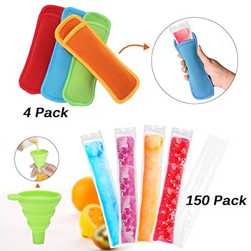 MULTIPROPÓSITO --- Hecho de PET + PE, libre de BPA, seguridad y material de alta calidad. Ideal para el congelador de soda casero, el congelador para helado, el yogur congelador. DISEÑO DE SELLO ZIP --- La bolsa para palos de hielo utiliza la cremall...