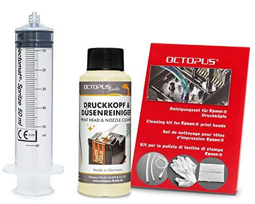 Octopus Düsenreiniger, Druckkopfreiniger kompatibel für Epson Druckköpfe mit Schlauchadaptern (100 ml)