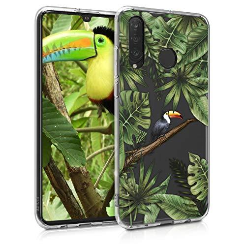 kwmobile Hülle kompatibel mit Huawei P30 Lite - Handyhülle - Handy Hülle Dschungel Tucan Grün Schwarz Transparent