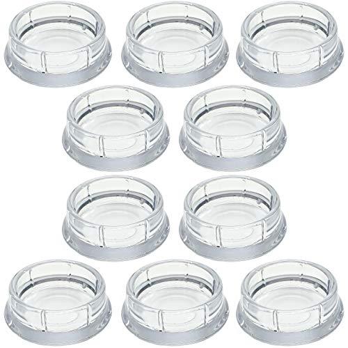 Enkotrade 10 Stück Möbeluntersetzer Rund transparent, Ø 60 mm, Möbelschutz aus hochwertigem Kunststoff (Polystyrol), Möbelgleiter, Stuhlgleiter, Bodenschoner