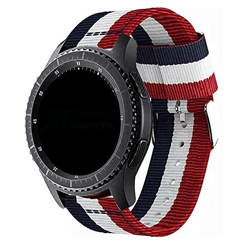Pulseira 22mm Nylon Listrada compatível com Samsung Galaxy Watch 3 45mm - Galaxy Watch 46mm - Gear S3 Frontier - Amazfit GTR 47mm - Amazfit GTR 2 - Marca LTIMPORTS (Azul/Branco/Vermelho)
