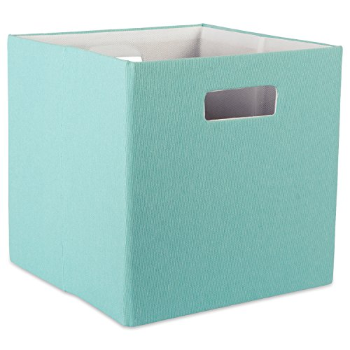 DII Hard Sided Collapsible Fabric Storage Container for Nursery, Offices, & Home Organization, (13x13x13) - Solid Aqua