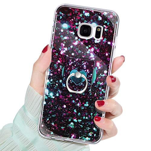 QPOLLY Coque Compatible avec Galaxy S7 Bling Bling Marbre Housse, Silicone Brillant Paillette avec Support de Bague Antichoc Souple TPU Bumper Etui Housse de Protection Case pour Galaxy S7-1