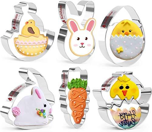 KAISHANE Ostern ausstechformen Set 6 Stück - Hase, Ei, Küken aus der Schale, Karotte, Kaninchenkopf, Küken - Rostfreier Stahl