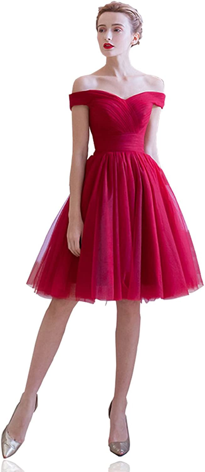 Women's Off The Shoulder Short Homecoming Dress Ruched Bodice