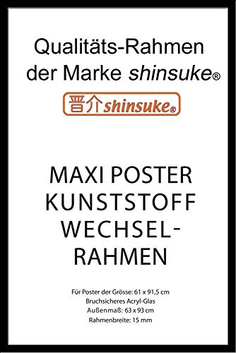 empireposter Wechselrahmen Shinsuke® Maxi-Poster 61x91,5cm Qualitätsrahmen, Profil: 15mm - Kunststoff schwarz, Acrylscheibe beidseitig foliengeschützt