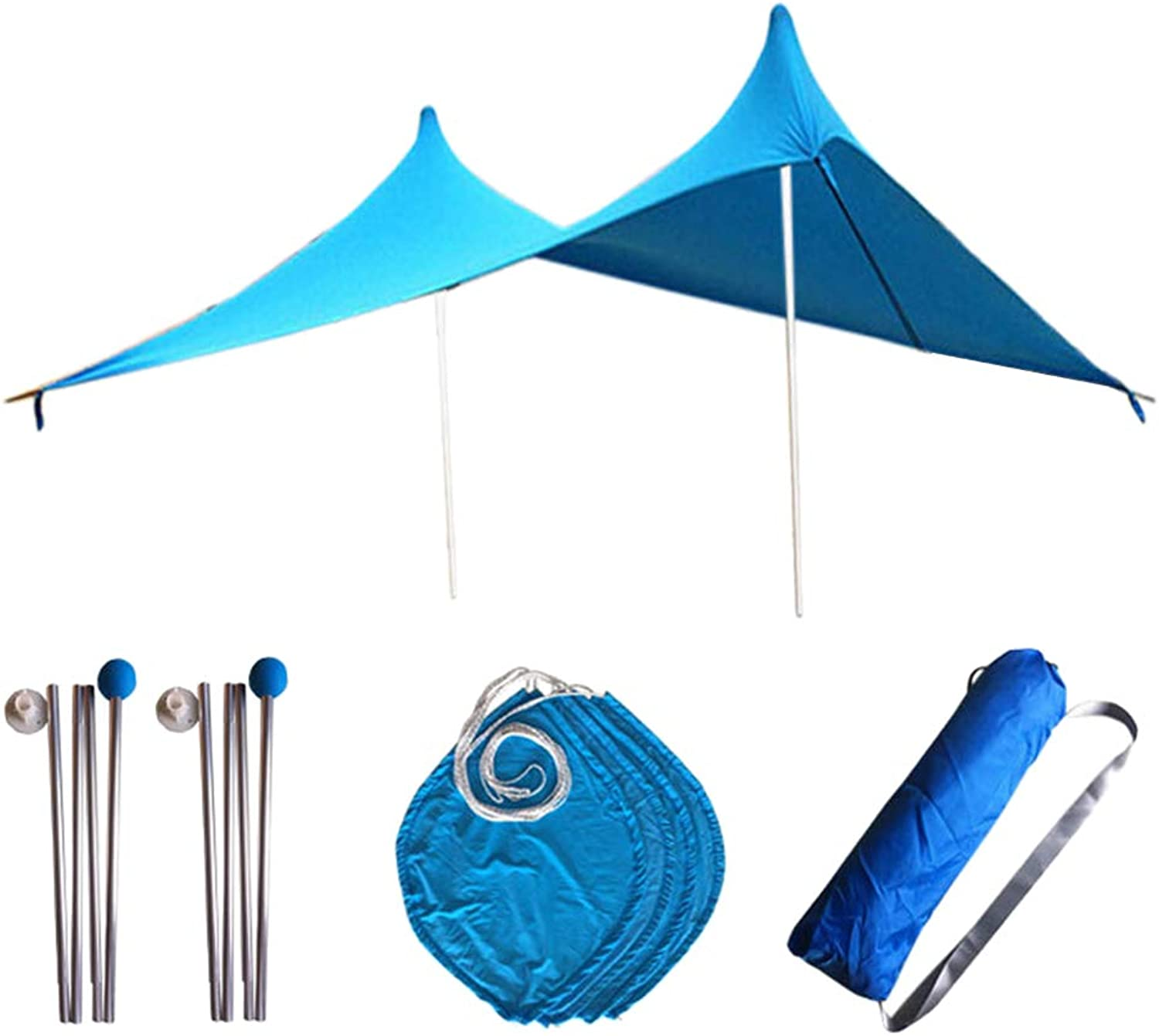 DYNWAVE Family Beach Sun Shade Tent with Sand Anchors, UPF50 UV Predection Camping Shelter Tarp  Suit for 34 Person