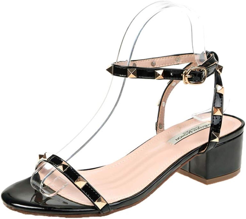 T-JULY Women's Sandals Solid color Patent Leather High Heels Women's Versatile Flat Sandals Fashion Square Heel shoes
