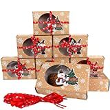 u/d boîte à biscuit noël, boite cadeau noël, boîte à biscuit noël avec fenêtre, boîte patisserie
