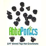 Abbaponics 50pc 1/4' (6mm) Hydroponic Top Hat Grommets - Seals Hydroponic Tubing