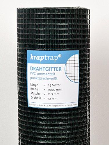 kraptrap® Volierendraht SCHWARZ Drahtgitter 12x12 mm Masche 1 x 25m Drahtzaun Käfigzaun